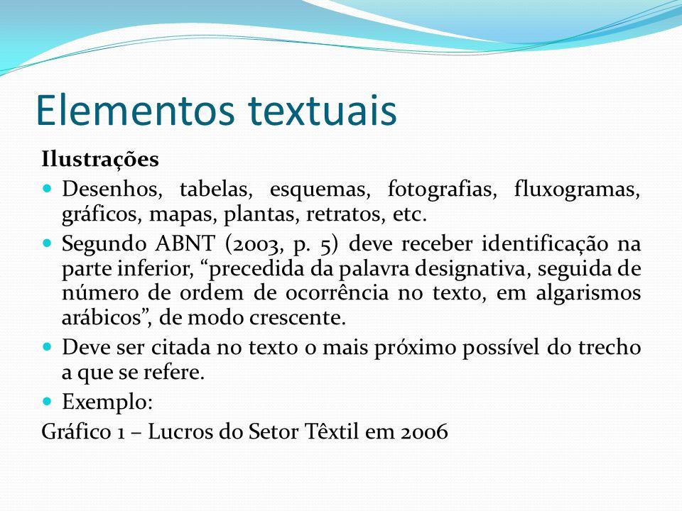 Elementos textuais Ilustrações Desenhos, tabelas, esquemas, fotografias, fluxogramas, gráficos, mapas, plantas, retratos, etc. Segundo ABNT (2003, p.