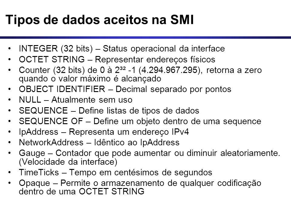 Tipos de dados aceitos na SMI INTEGER (32 bits) – Status operacional da interface OCTET STRING – Representar endereços físicos Counter (32 bits) de 0