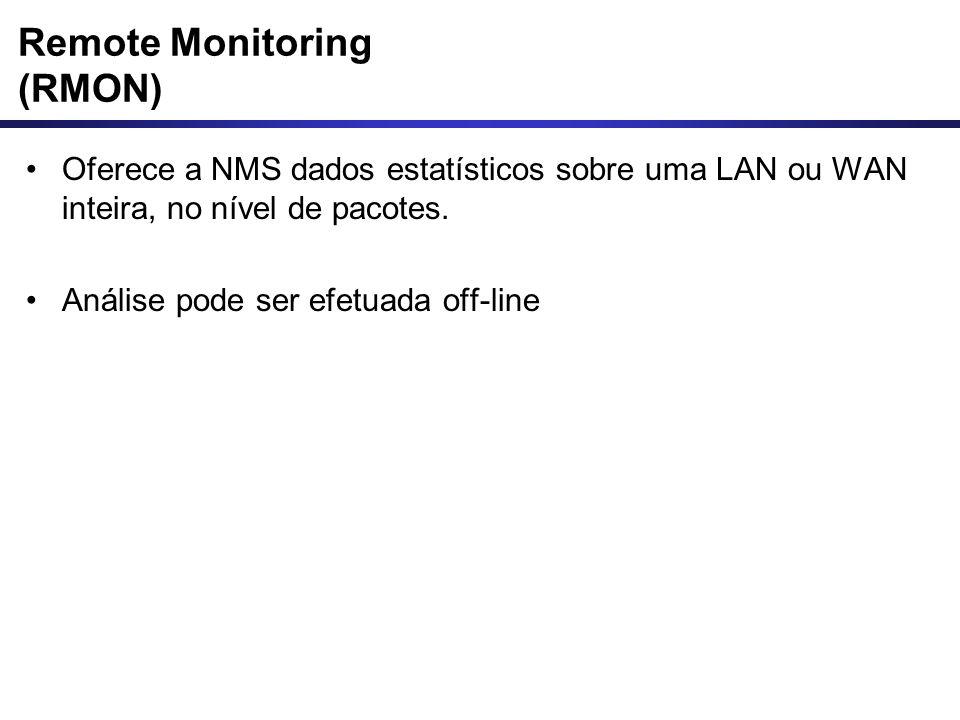 Remote Monitoring (RMON) Oferece a NMS dados estatísticos sobre uma LAN ou WAN inteira, no nível de pacotes. Análise pode ser efetuada off-line