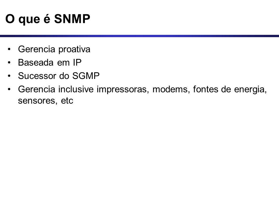 O que é SNMP Gerencia proativa Baseada em IP Sucessor do SGMP Gerencia inclusive impressoras, modems, fontes de energia, sensores, etc
