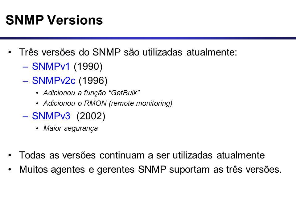 """SNMP Versions Três versões do SNMP são utilizadas atualmente: –SNMPv1 (1990) –SNMPv2c (1996) Adicionou a função """"GetBulk"""" Adicionou o RMON (remote mon"""