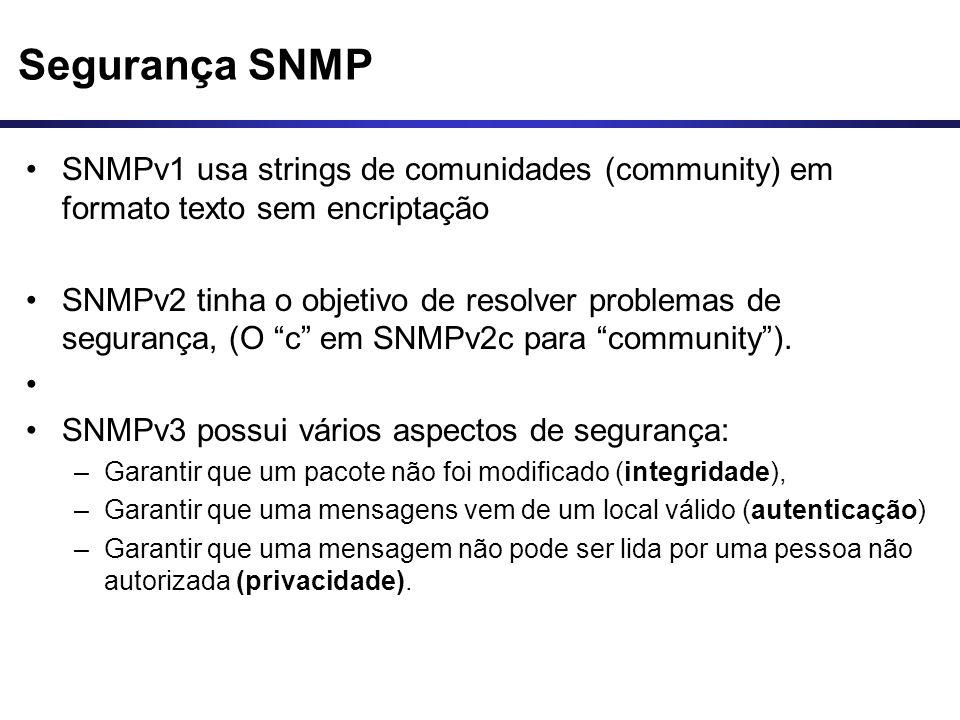 Segurança SNMP SNMPv1 usa strings de comunidades (community) em formato texto sem encriptação SNMPv2 tinha o objetivo de resolver problemas de seguran