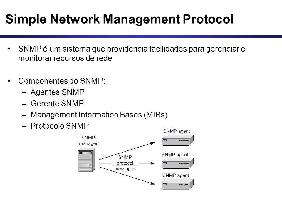 Simple Network Management Protocol SNMP é um sistema que providencia facilidades para gerenciar e monitorar recursos de rede Componentes do SNMP: –Age