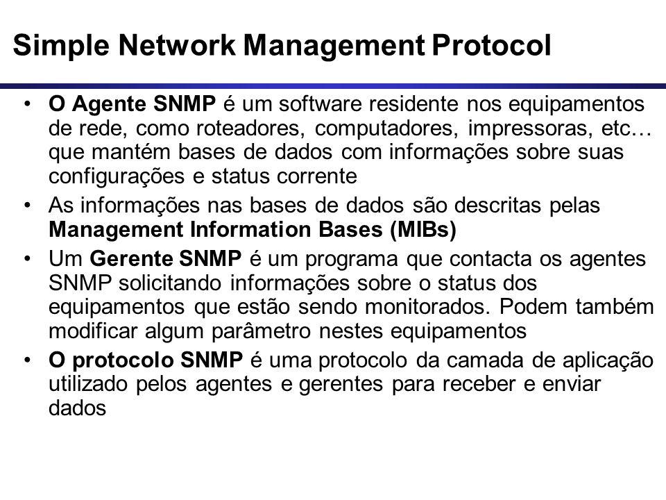 Simple Network Management Protocol O Agente SNMP é um software residente nos equipamentos de rede, como roteadores, computadores, impressoras, etc… qu