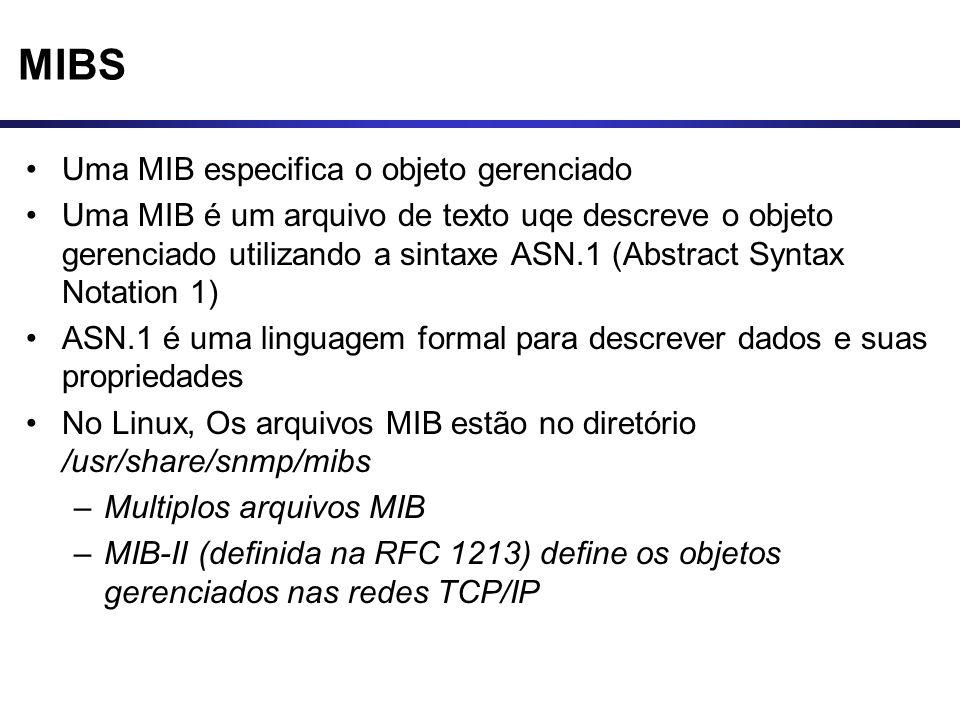 MIBS Uma MIB especifica o objeto gerenciado Uma MIB é um arquivo de texto uqe descreve o objeto gerenciado utilizando a sintaxe ASN.1 (Abstract Syntax