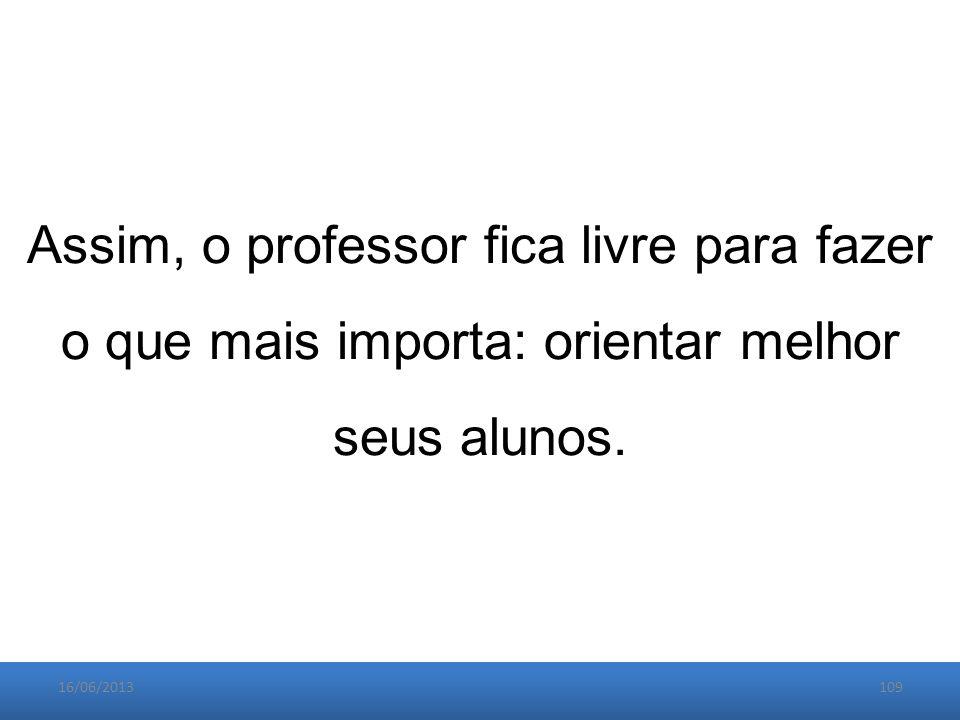 16/06/2013109 Assim, o professor fica livre para fazer o que mais importa: orientar melhor seus alunos.
