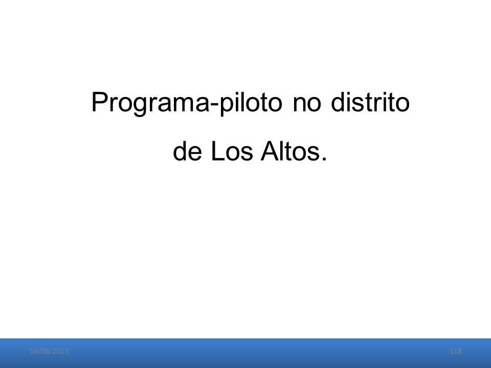 16/06/2013118 Programa-piloto no distrito de Los Altos.