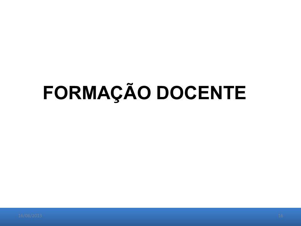16/06/201316 FORMAÇÃO DOCENTE