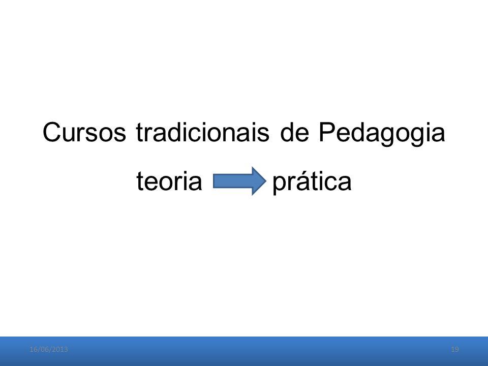 16/06/201319 Cursos tradicionais de Pedagogia teoria prática