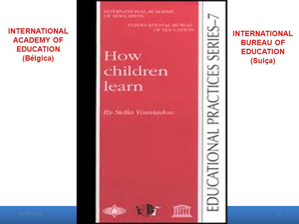 16/06/201355 INTERNATIONAL ACADEMY OF EDUCATION (Bélgica) INTERNATIONAL BUREAU OF EDUCATION (Suiça)