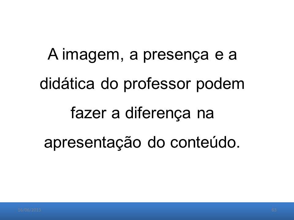 16/06/201363 A imagem, a presença e a didática do professor podem fazer a diferença na apresentação do conteúdo.