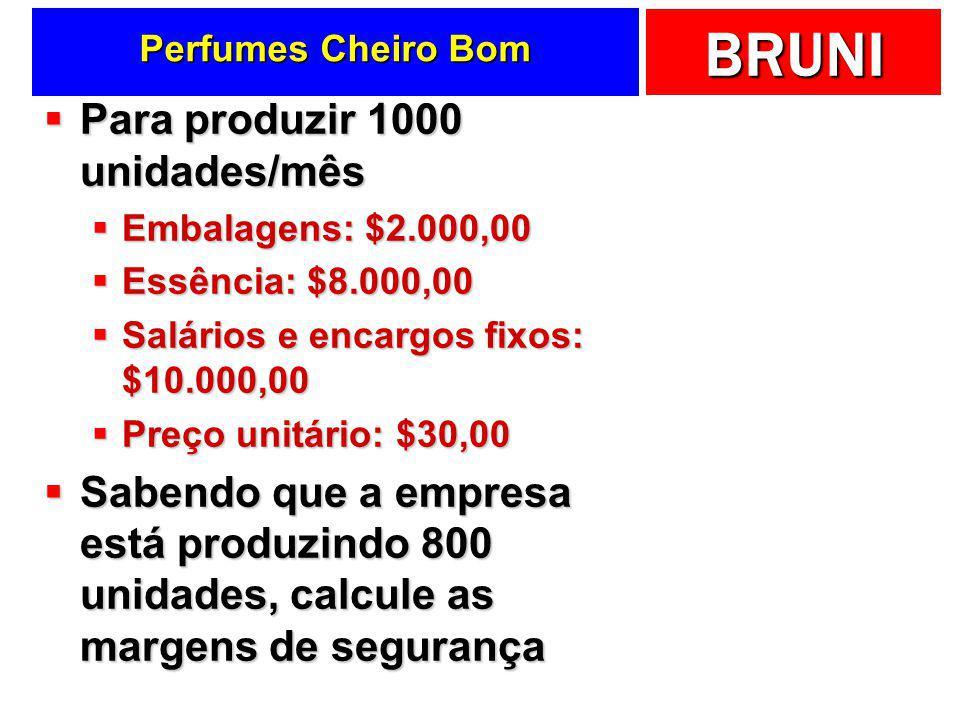 BRUNI Fábrica de Sorvetes …  MS em quantidade Vendas (Q) – PEC (Q) 600 – 500 = 100 kg  MS em $ Vendas ($) – PEC ($) 6000 – 5000 = $1.000,00  MS em