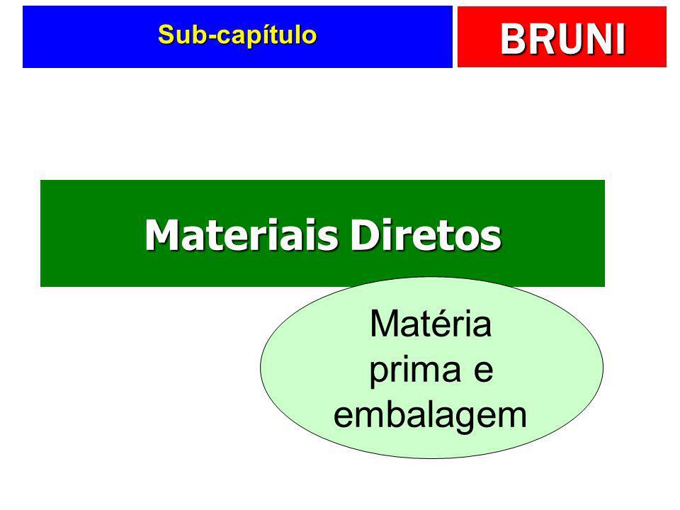 BRUNI Componentes contábeis...  Materiais diretos  Mão-de-obra direta  Custos indiretos de fabricação 123 MD Materiais Diretos Matéria-Prima Embala