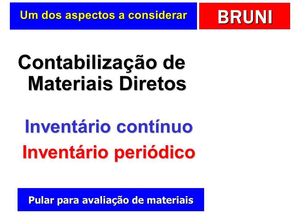 BRUNI Materiais diretos (MD)  Recursos consumidos de forma direta na elaboração do produto ou na prestação do serviço  Indústria  Matéria-prima  E