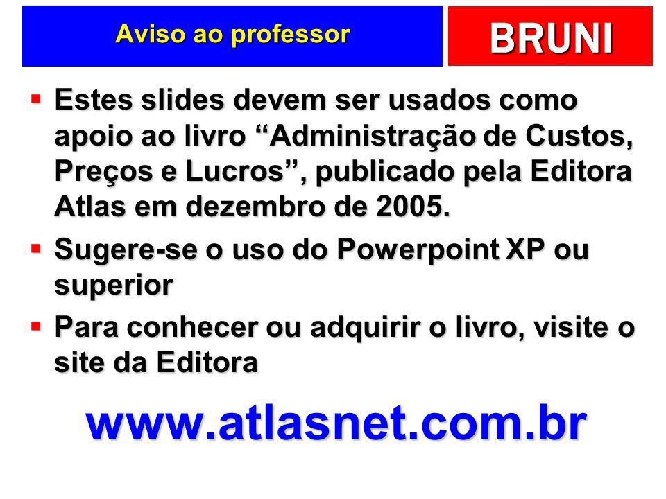 BRUNI Slides de apoio ao livro Todo o conteúdo dos slides está apresentado no livro A Administração de Custos, Preços e Lucros, publicado pela Editora