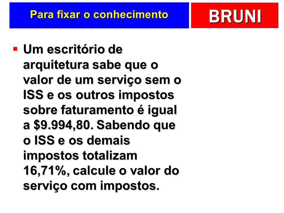 BRUNI ISS e outros presumidos Impostos Base de cálculo AlíquotaSubtotal Contribuição Social Sobre o Lucro (CSSL)32%9%2,88% Imposto de Renda (IR)32%15%