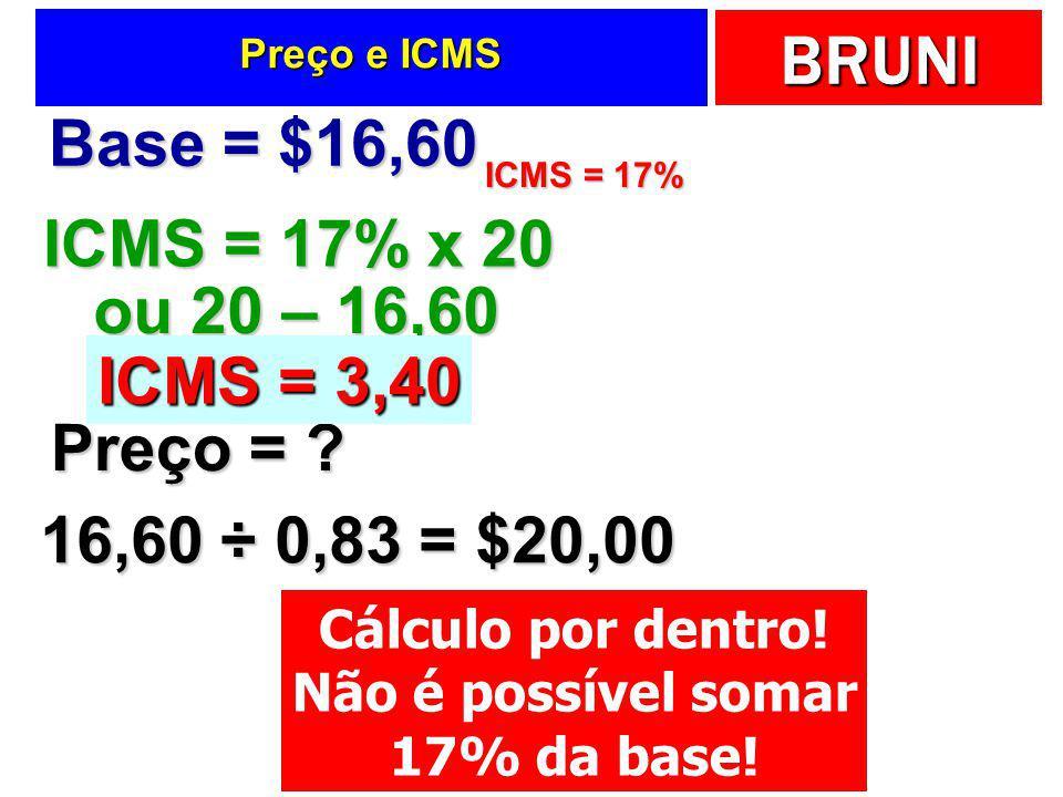 BRUNI Cálculo por dentro  Um comerciante precisa definir o preço que cobrará por uma camisa.  Valor da mercadoria sem ICMS igual a $16,60  Alíquota