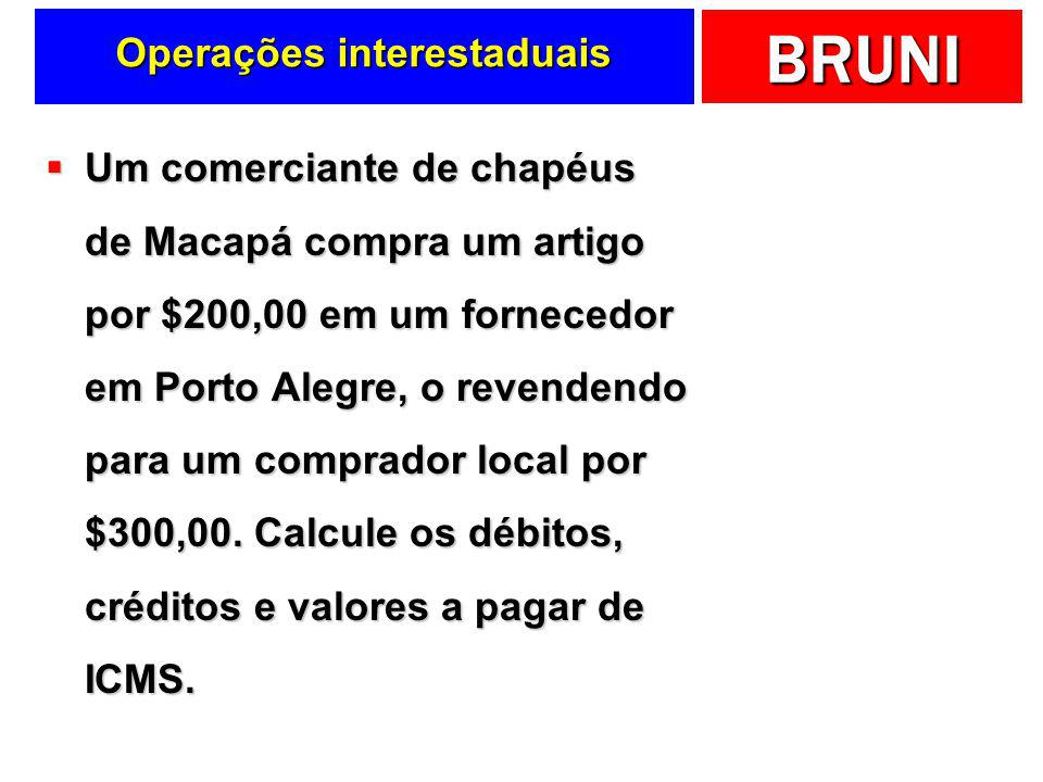 BRUNI Operações interestaduais SPCE7%17% Preço = $50,00 ICMS = $3,50 SEFAZ/SP Preço = $100,00 D ICMS = $17,00 SEFAZ/CE Antecipação tributária Paga-se