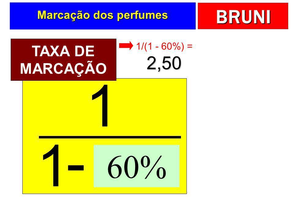 BRUNI Loja de perfumes  Um loja de perfumes deseja aplicar um mark-up considerando ICMS igual a 18%, comissão igual a 2%, despesas iguais a 25% e mar