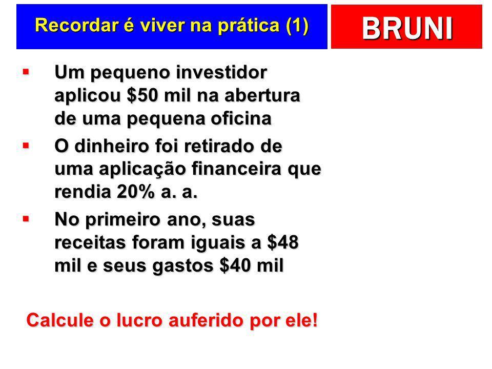 BRUNI Recordar é viver …  Custos  Multiplicidade de significados  Contabilidades  Financeira: registro  Gerencial: decisão  Terminologia dos gas