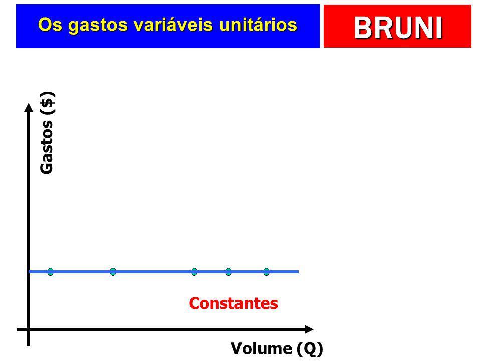 BRUNI Os gastos fixos unitários Volume (Q) Gastos ($) Decrescentes Qualquer cor de carro preto! Economias de Escala