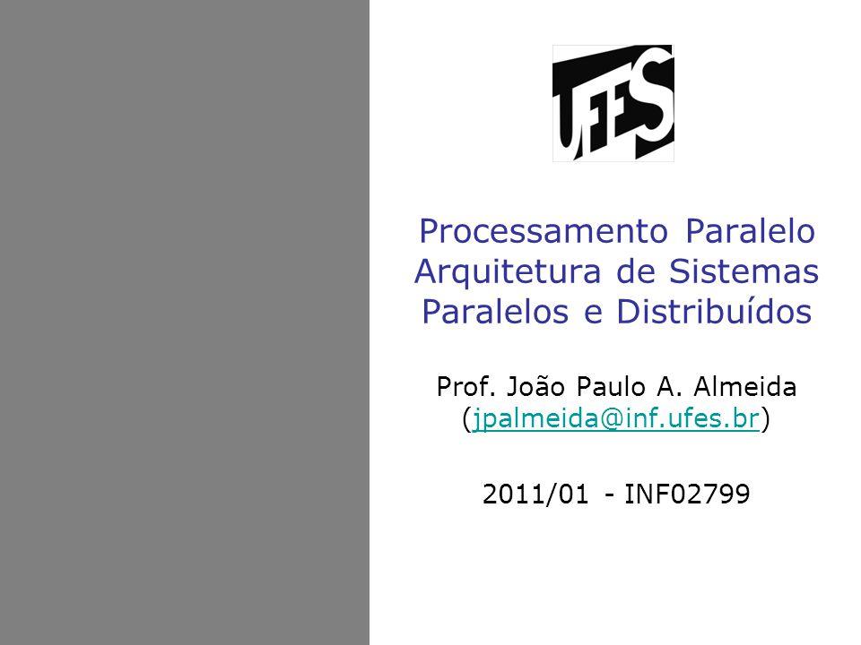 Processamento Paralelo Arquitetura de Sistemas Paralelos e Distribuídos Prof. João Paulo A. Almeida (jpalmeida@inf.ufes.br)jpalmeida@inf.ufes.br 2011/
