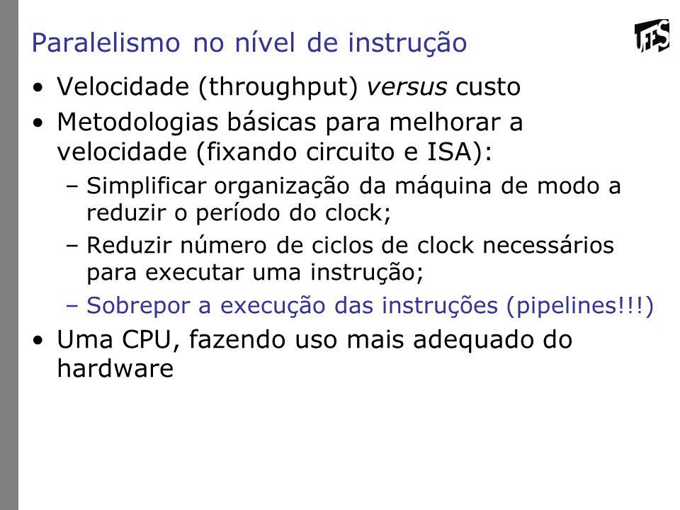Paralelismo no nível de instrução Velocidade (throughput) versus custo Metodologias básicas para melhorar a velocidade (fixando circuito e ISA): –Simp