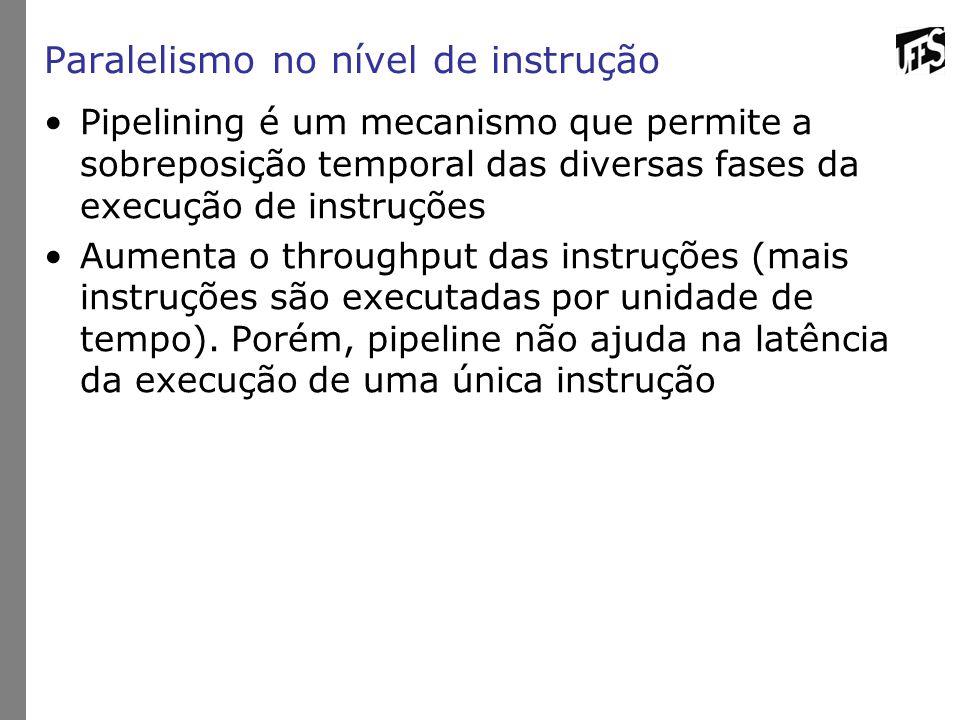 Paralelismo no nível de instrução Pipelining é um mecanismo que permite a sobreposição temporal das diversas fases da execução de instruções Aumenta o