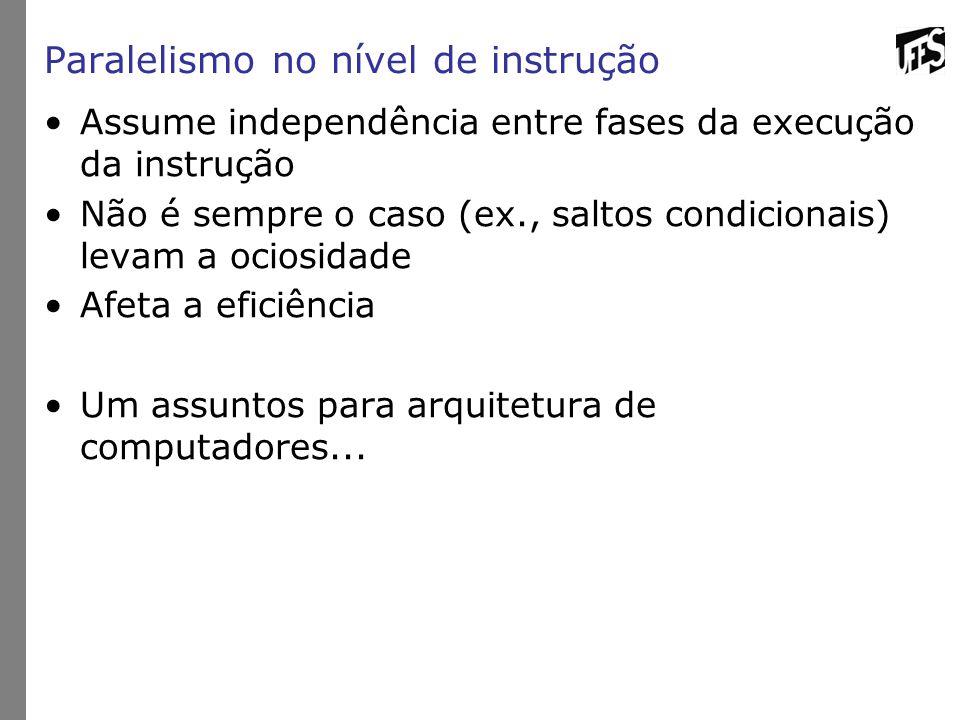Paralelismo no nível de instrução Assume independência entre fases da execução da instrução Não é sempre o caso (ex., saltos condicionais) levam a oci