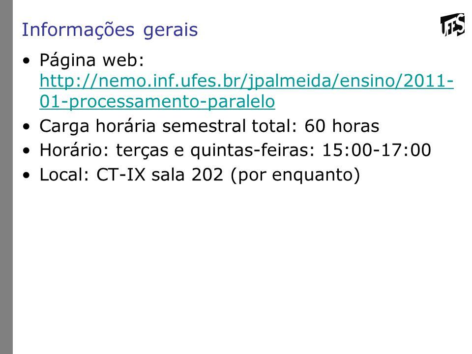 Informações gerais Página web: http://nemo.inf.ufes.br/jpalmeida/ensino/2011- 01-processamento-paralelo http://nemo.inf.ufes.br/jpalmeida/ensino/2011-