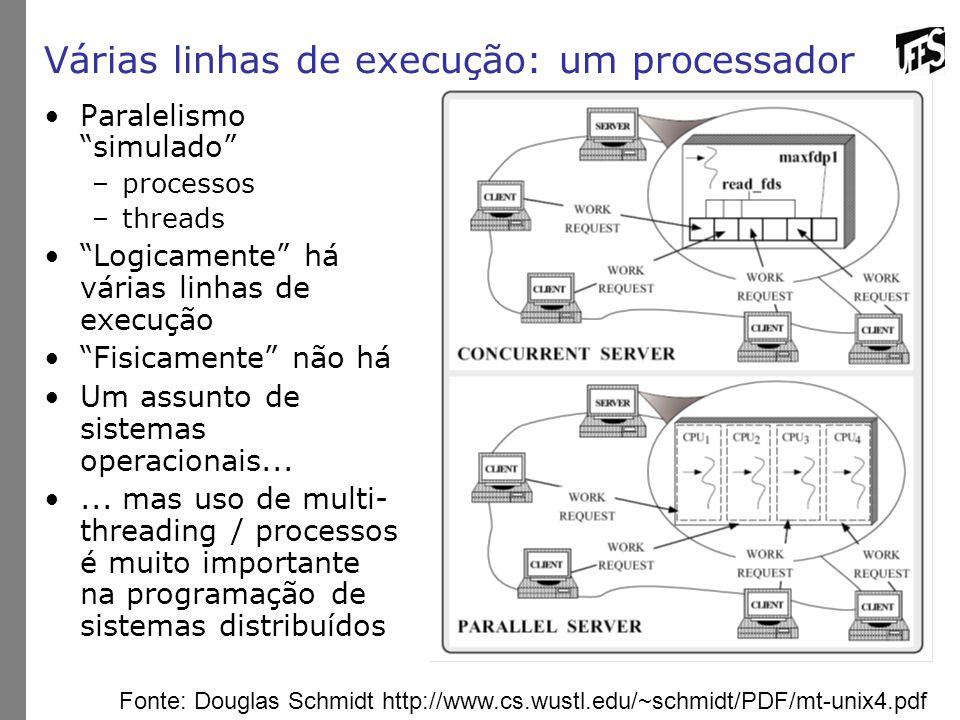 """Várias linhas de execução: um processador Paralelismo """"simulado"""" –processos –threads """"Logicamente"""" há várias linhas de execução """"Fisicamente"""" não há U"""