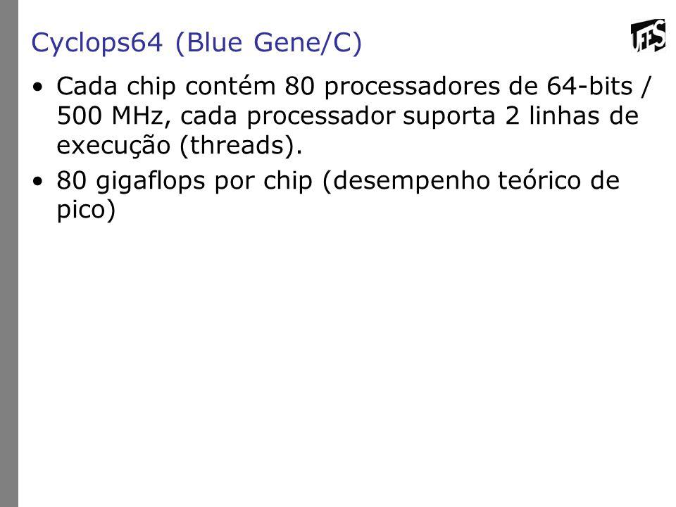 Cyclops64 (Blue Gene/C) Cada chip contém 80 processadores de 64-bits / 500 MHz, cada processador suporta 2 linhas de execução (threads). 80 gigaflops