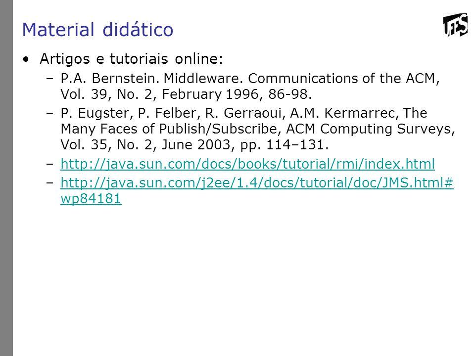 Material didático Artigos e tutoriais online: –P.A. Bernstein. Middleware. Communications of the ACM, Vol. 39, No. 2, February 1996, 86-98. –P. Eugste