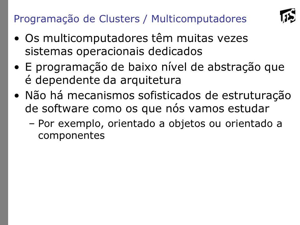 Programação de Clusters / Multicomputadores Os multicomputadores têm muitas vezes sistemas operacionais dedicados E programação de baixo nível de abst