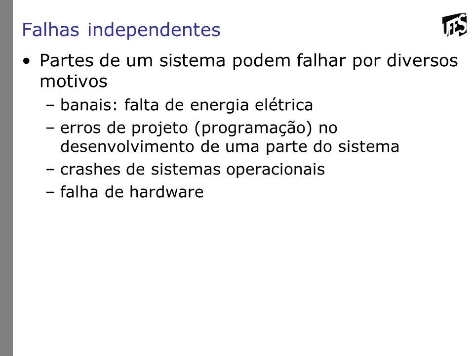 Falhas independentes Partes de um sistema podem falhar por diversos motivos –banais: falta de energia elétrica –erros de projeto (programação) no dese