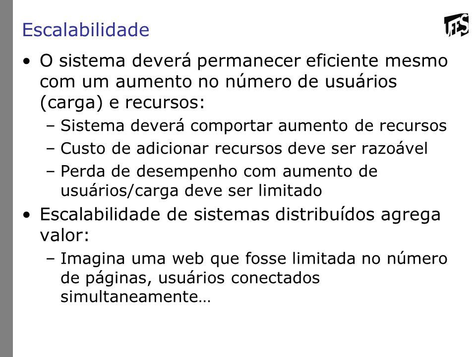 Escalabilidade O sistema deverá permanecer eficiente mesmo com um aumento no número de usuários (carga) e recursos: –Sistema deverá comportar aumento