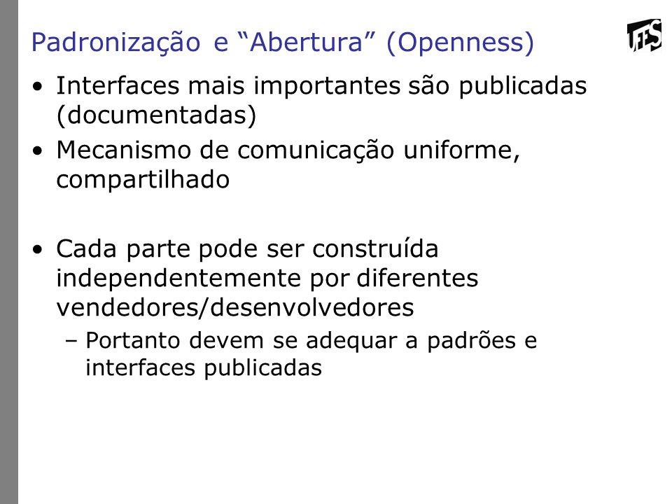 """Padronização e """"Abertura"""" (Openness) Interfaces mais importantes são publicadas (documentadas) Mecanismo de comunicação uniforme, compartilhado Cada p"""
