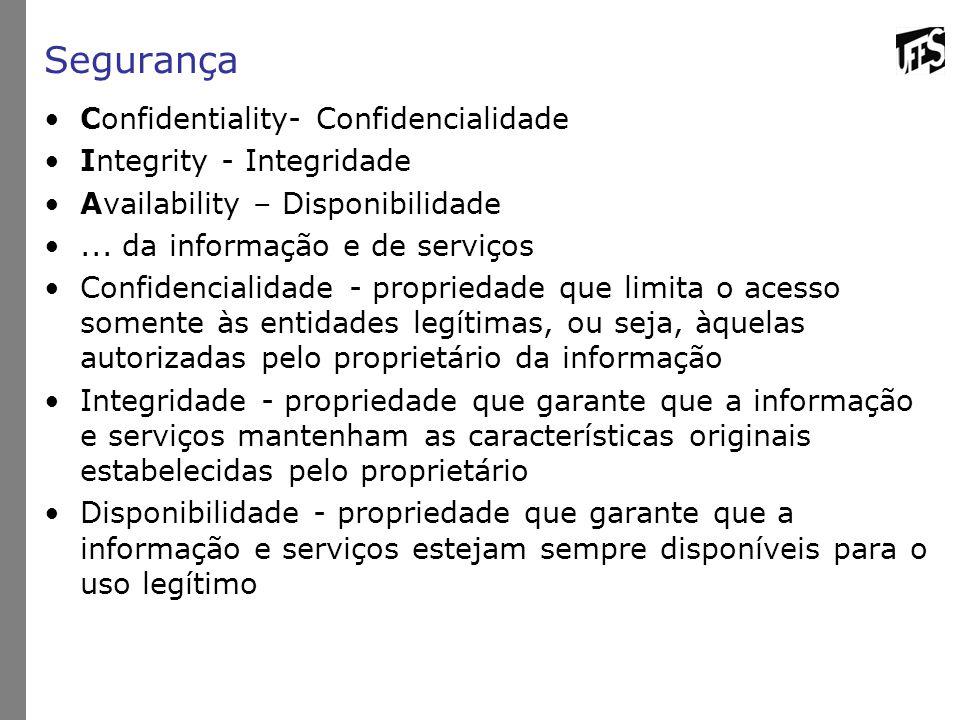 Segurança Confidentiality- Confidencialidade Integrity - Integridade Availability – Disponibilidade... da informação e de serviços Confidencialidade -