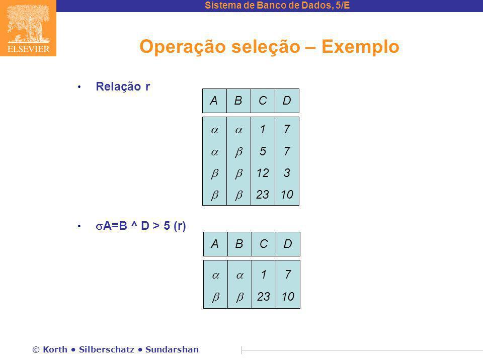 Sistema de Banco de Dados, 5/E © Korth Silberschatz Sundarshan Operação seleção – Exemplo Relação r  A=B ^ D > 5 (r) ABCD   1 5 12 23 7 3 10 ABCD   1 23 7 10