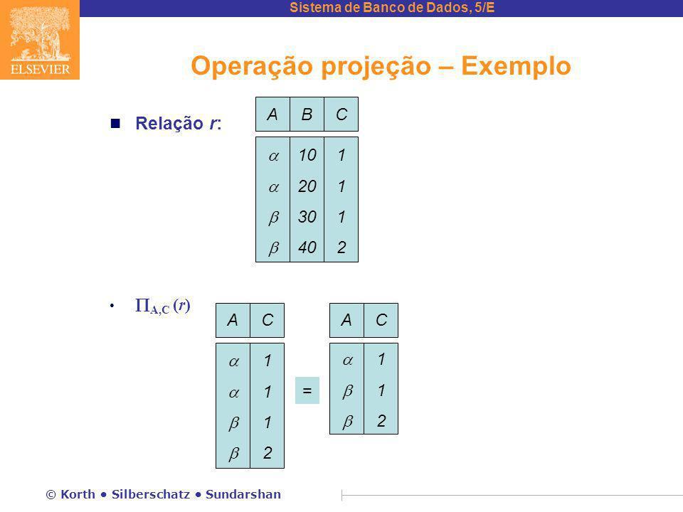 Sistema de Banco de Dados, 5/E © Korth Silberschatz Sundarshan Operação projeção – Exemplo n Relação r:  A,C (r) ABC  10 20 30 40 11121112 AC