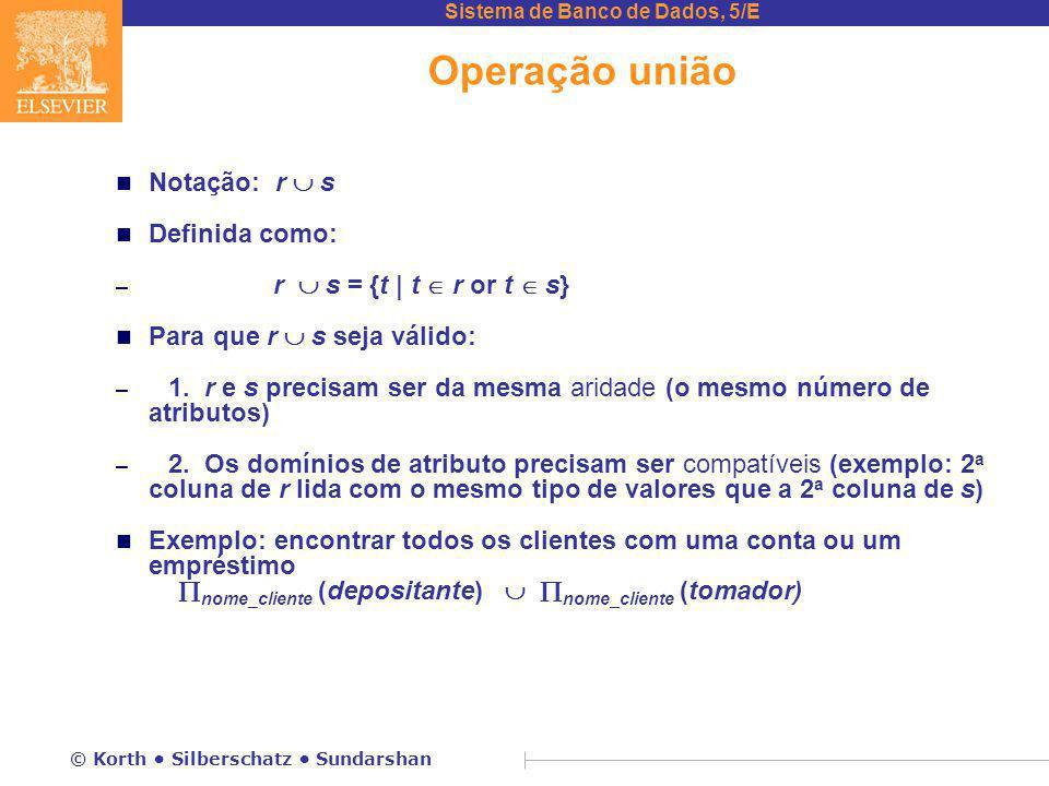 Sistema de Banco de Dados, 5/E © Korth Silberschatz Sundarshan Operação união n Notação: r  s n Definida como: – r  s = {t | t  r or t  s} n Para que r  s seja válido: – 1.
