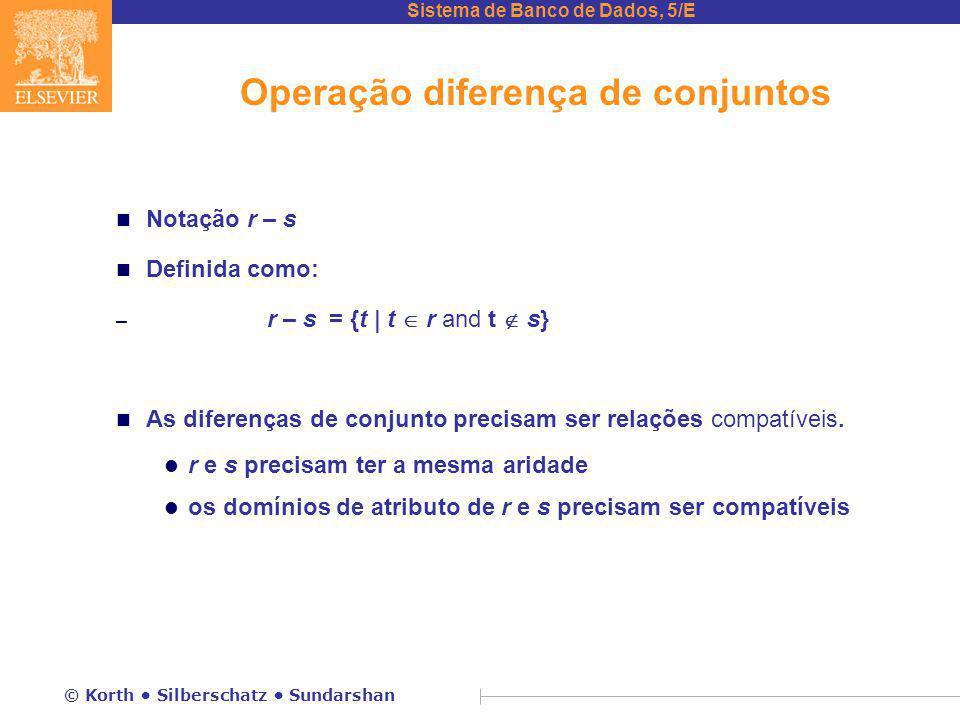 Sistema de Banco de Dados, 5/E © Korth Silberschatz Sundarshan Operação diferença de conjuntos n Notação r – s n Definida como: – r – s = {t | t  r and t  s} n As diferenças de conjunto precisam ser relações compatíveis.