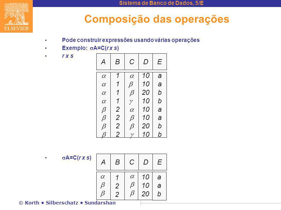Sistema de Banco de Dados, 5/E © Korth Silberschatz Sundarshan Composição das operações Pode construir expressões usando várias operações Exemplo:  A