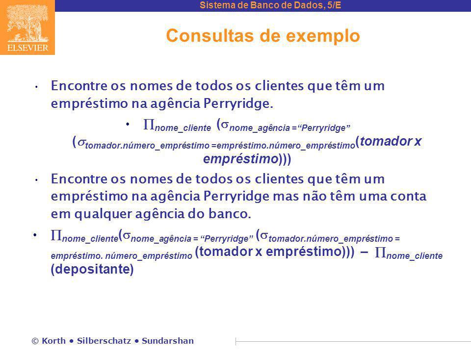 Sistema de Banco de Dados, 5/E © Korth Silberschatz Sundarshan Consultas de exemplo Encontre os nomes de todos os clientes que têm um empréstimo na ag