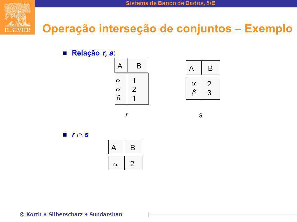 Sistema de Banco de Dados, 5/E © Korth Silberschatz Sundarshan Operação interseção de conjuntos – Exemplo n Relação r, s: n r  s A B  121121  2323 rs  2