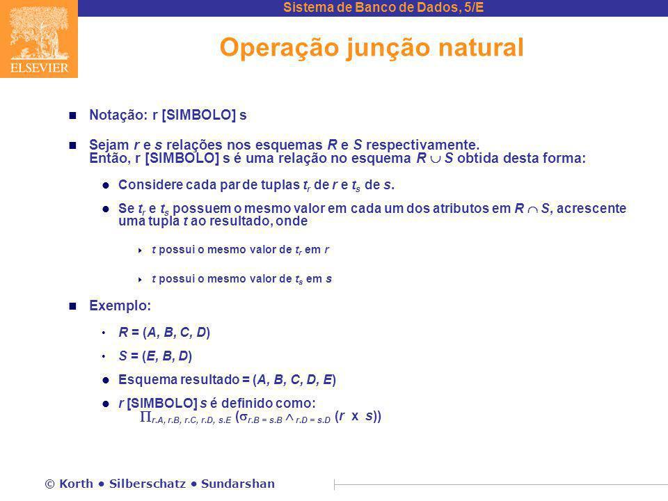 Sistema de Banco de Dados, 5/E © Korth Silberschatz Sundarshan Operação junção natural n Notação: r [SIMBOLO] s n Sejam r e s relações nos esquemas R e S respectivamente.