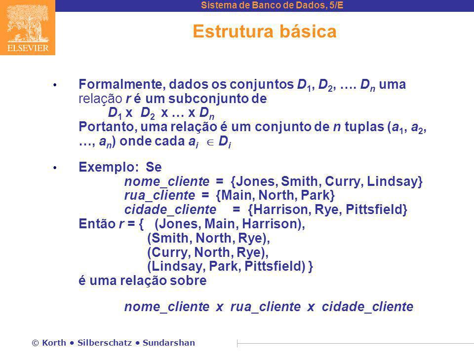 Sistema de Banco de Dados, 5/E © Korth Silberschatz Sundarshan Estrutura básica Formalmente, dados os conjuntos D 1, D 2, …. D n uma relação r é um su