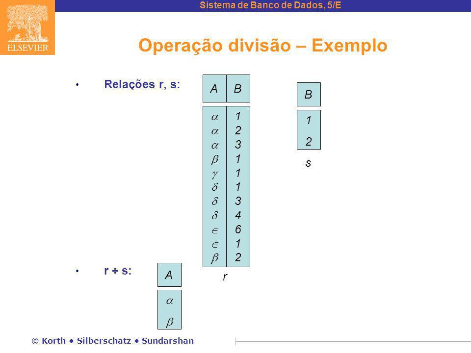 Sistema de Banco de Dados, 5/E © Korth Silberschatz Sundarshan Operação divisão – Exemplo Relações r, s: r ÷ s: A  r B 1212 AB  1231113461212311134612 s