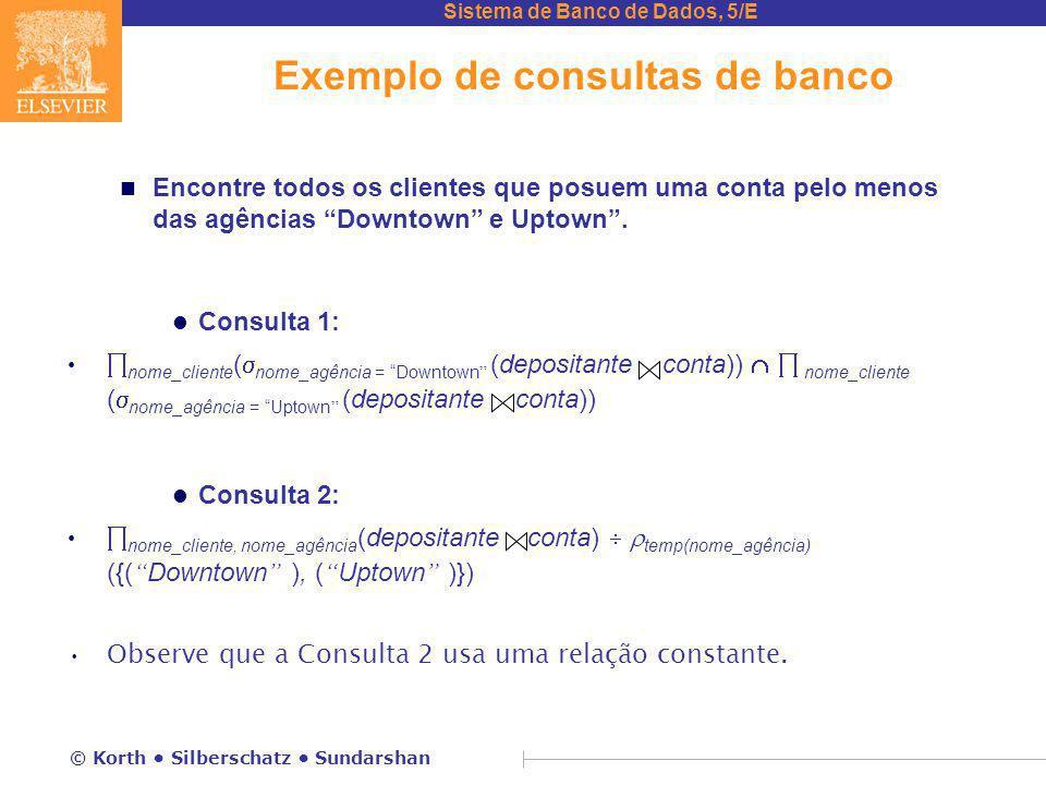 Sistema de Banco de Dados, 5/E © Korth Silberschatz Sundarshan Exemplo de consultas de banco n Encontre todos os clientes que posuem uma conta pelo me