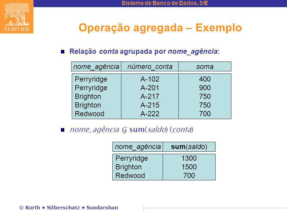 Sistema de Banco de Dados, 5/E © Korth Silberschatz Sundarshan Operação agregada – Exemplo n Relação conta agrupada por nome_agência: nome_agência G s